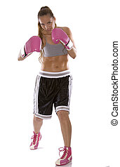 female boxer - active woman female boxer jumping high on...