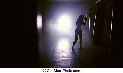 Female Boxer Punches In Boxing Gym - Young woman Punches In...