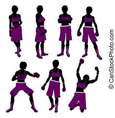 Female Boxng Illustration Silhouette - Female boxing art...