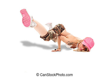 Female Break dancer performing freeze - Stockphoto of sexy...
