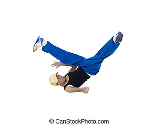 female breakdancing - Isolated image of a young female...