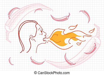 Female Breathing Fire, Hot Chili Pepper Concept Sketch...