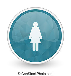 Female brillant crystal design round blue web icon.