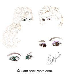 Female  brown and green eyes Set of vector.eps