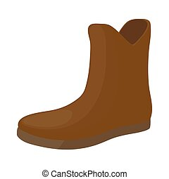 Female brown fashion boots icon, cartoon style