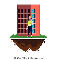 female builder construction with building