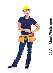 female builder full lenght on white