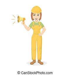 Female builder with megaphone.