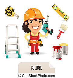 Female Builders Icons Set. In the EPS file, each element is grouped separately. Isolated on white background.