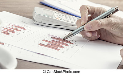 Female business accountant pointing to a graph with a pen