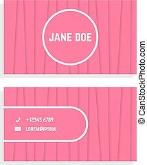 Business card template design vector name card graphic with female business card with pink stripes colourmoves