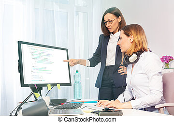 Female business executive and assistant in office