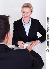 Female business executive smiling