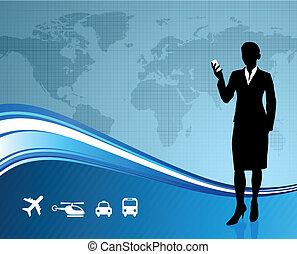 Female Business traveler on global communication background