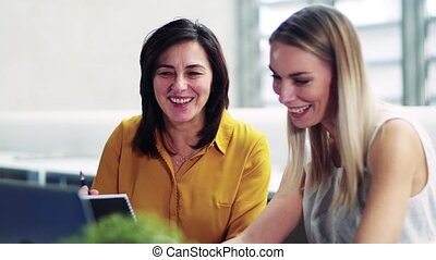 Female businesspeople with laptop in office, expressing...