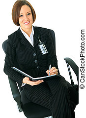 Female Businesswoman Look At Viewer And Sit On Chair