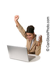 Female Businesswoman Who is Very Happy