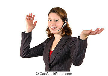 female call center agent discussing with client