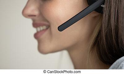 Female call center agent talk online using headset
