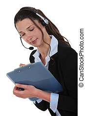 Female call-center agent with clipboard