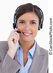Female call center agent with headset