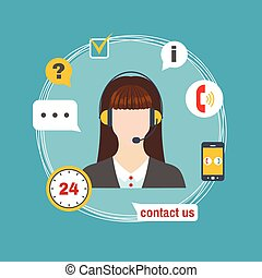 Female call center avatar icon with service icons.