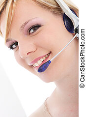 Female call center employee with headset