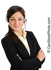 Female call center operator - This is an image of female...