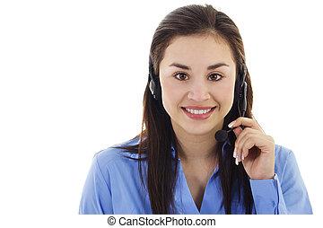 Female call center representative