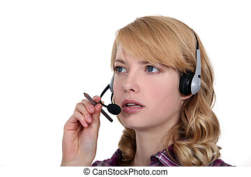 Female call center worker