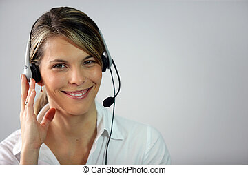 Female call-center worker