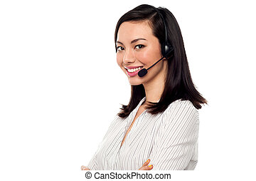 Female call centre executive - Young confident call centre...