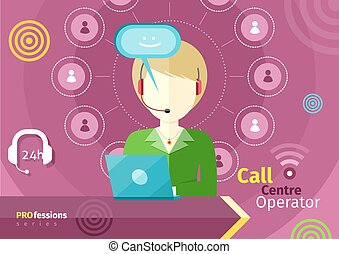 Female call centre operator with headset, laptop -...