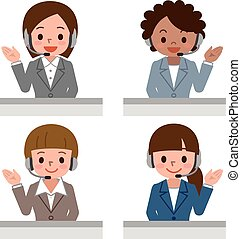 Female call centre operator with headset - Vector...