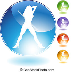 Female Cane Dancer Crystal Icon