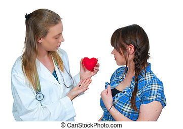 Female Cardiologist - A female cardiologist doctor holding a...