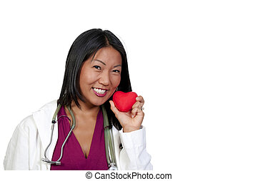 Female Cardiologist - A female cardiologist holding a red...