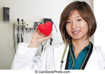 Female Cardiologist - An Asian female cardiologist holding a...