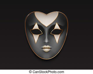 Venetian or Mardi Gras carnival, holiday masquerade, costumed party full face womens, anatomical, grey color mask with rhombic ornament 3d realistic vector illustration isolated on black background