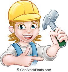Female Carpenter Woman Cartoon Character - A female...