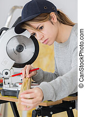 Female carpenter working