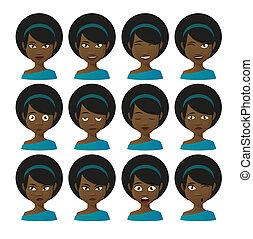 Female cartoon avatar expression set
