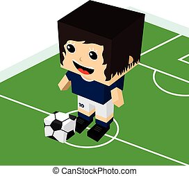 female cartoon soccer player