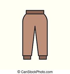 female casual trouser, filled color outline editable stroke