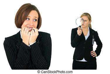 Female Caucasia Employee Biting Her Finger