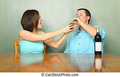 Female Caucasian Stopping Drunk Male