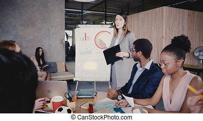 Female CEO describing business project to team, explains data on flipchart. Multiethnic office staff board meeting 4K.