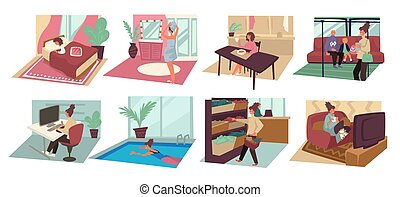 Female character day, daily routine, morning and evening - ...