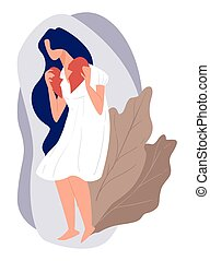Depressed woman ends relationship, sad female character holding broken heart. Emotional girl with grieving face expression. Lonely teenager or adult, separation or divorce, vector in flat style