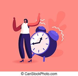 Female Character Ignoring Problems. Tiny Businesswoman Ignore Huge Alarm Clock Ring. Time Management, Procrastination, Low Productivity in Business Working Process Concept. Cartoon Vector Illustration
